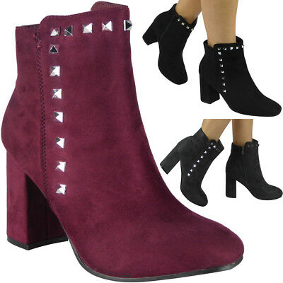 New Womens Ladies Faux Suede Zip High Heel Ankle Studded Boots Party Shoes Size