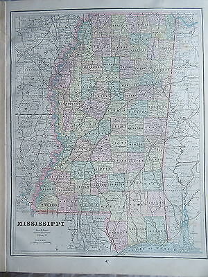 Antique Color Map from Geo.F.Cram Atlas Louisiana & Mississippi