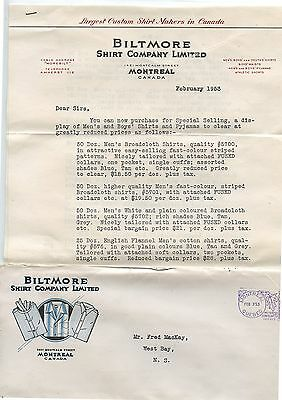 Old 1953 Biltmore Shirt Company Montreal Letter Head & Envelope