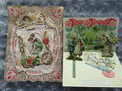2 Antique Valentines Day Cards Large Cupids Message die-Cut