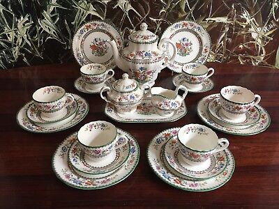 COPELAND SPODE England CHINESE ROSE  antikes 22 teiliges Kaffeeservice / 6 Pers.