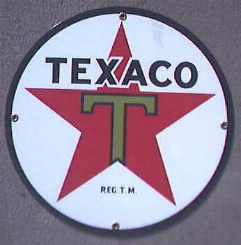 "*texaco Green T  12"" Porcelain Overlay Sign       Nr"