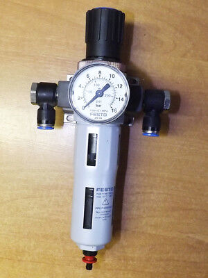"Festo LFR-D-MINI-A Pneumatic Air Filter Regulator - 1/4"", 12 Bar, 175 psi"