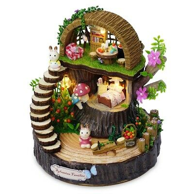 3D Dollhouse Miniature DIY Kit Forest House with LED Light Wood Handcraft Gift