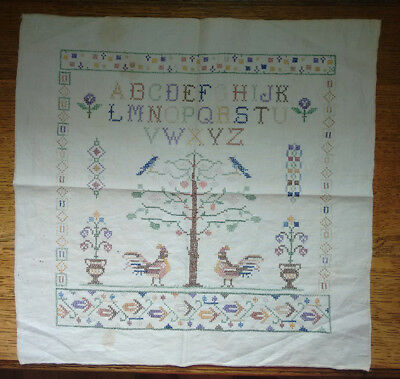 Antique Sampler Alphabet Beautiful Flowers Birds