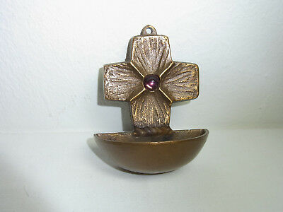 Mid Century German Christianity Brass Holy Water Font #BV
