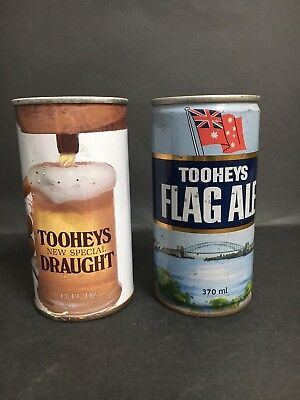 TOOHEYS STEEL BEER CAN LOT OF 2 - FLAG ALE & NEW SPECIAL DRAUGHT FROM 1970's