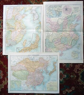 Antique Maps (x3) ~ CHINA, CHINESE EMPIRE & JAPAN ~ 1890s