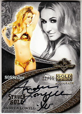 2013 Benchwarmer Struck Gold Auto: Andrea Lowell #21/25 Autograph Playboy Tv