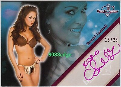 2011 Benchwarmer Limited Auto: Bambi Lashell #15/25 Pink Autograph Sexy Model