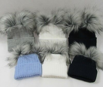 Baby Babies Infant Knit Knitted Winter Bobble Hat Double Two Raccoon Pom Pom NB