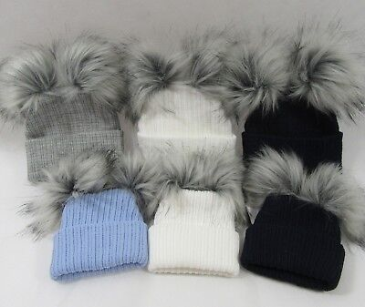 Baby Infant Knit Knitted Winter Bobble Hat Double Two Faux Raccoon Pom Pom NB