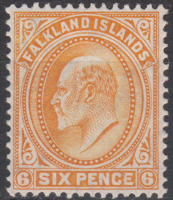 Falkland Islands 1904 MNH 6d Orange SG47 Cat £45