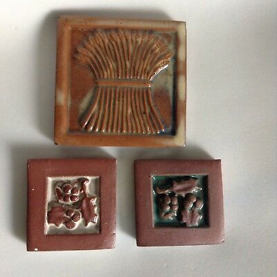 "Lot of 3 Moravian Pottery Tile Works Assorted - 2 Holly 2"" / 1 Wheat 4"" Bucks Co"
