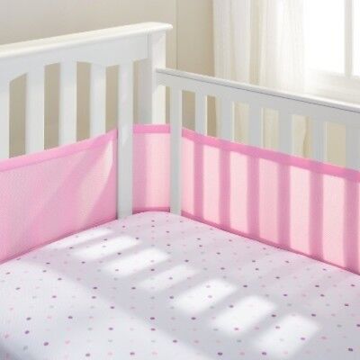 NEW Breathable Baby  Solid Mesh Crib Liner - Pink