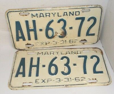 Vintage 1961-62 Maryland License Plate Set