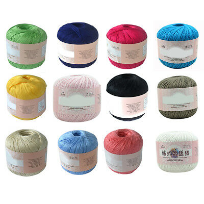 Mercerized Cotton Cord Thread Yarn for Embroidery Crochet Knitting Lace Novelty