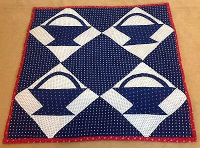 Antique Basket Quilt, Indigo Blue And White, Star And Mini Dot Calico Prints