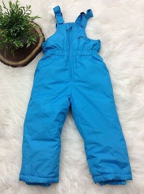 Weatherproof Youth Child Blue Snow Bib Snowsuit Zipper Front Adjustable Size 3T
