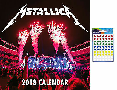 Metallica Official 2018 Wall Calendar - Includes 70 Coloured Dot Stickers