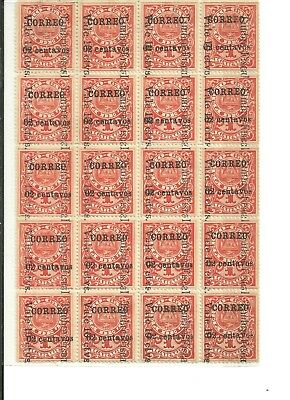 Nicaragua 1911 2 Cents On 1 Cent Sc:287 Set Of 20 Stamps. The Postal Ovp Was Ap