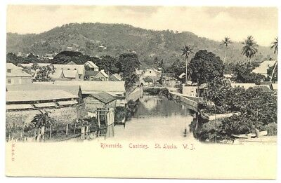 ST.LUCIA 1910 ca. PPC POSTCARD = RIVERSIDE CASTRIES = EXTRA FINE = WEST INDIES