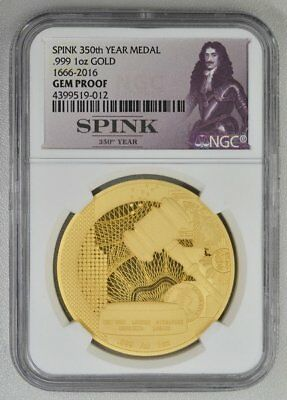 Spink UK  1 oz(9999) GOLD 1666-2016 350th Anniversary of Spink  NGC  GEM PROOF