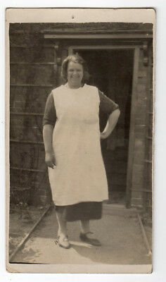 Vintage Real Photo RPPC Postcard Lady in Apron by Door Social History 1930s ?