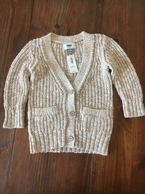 Toddler Old Navy Girls Oatmeal Cream Sparkle Cardigan Sweater NWT 18-24 Months