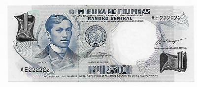 Philippines 1 Piso  Solid Serial number 222222 GEM CU Pick 142A