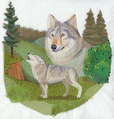 Large Embroidered Zippered Tote - Spirit of the Wolf J4088