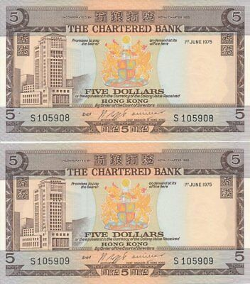 The Chartered Bank Hong Kong  $5 1975 Rare date  Choice UNC  2 pcs in cont. no.