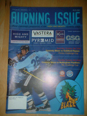 2002/3 Coventry Blaze V Guildford Flames & Nottingham Panthers Ice Hockey