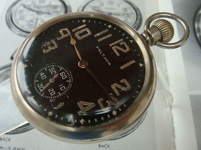 Waltham black dial military Issue Pocket watch war dept Serviced VGWO 1940s WW2