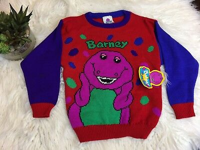 BARNEY the Purple DINOSAUR vintage child pull over SWEATER 1992