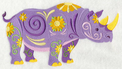 Large Embroidered Zippered Tote - Flower Power Rhino L5984