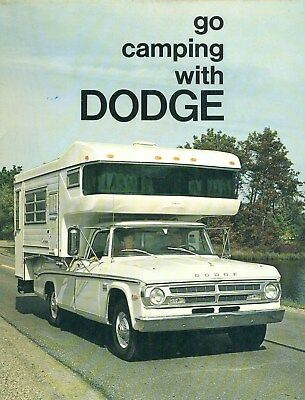 1969 Go Camping With DODGE Brochure Camper Conversions Pickups Motor Homes CLEAN
