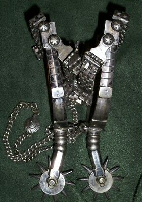 Vintage Antique CIRCA EARLY 1700'S SILVER SPURS w ORIGINAL HEEL CHAINS