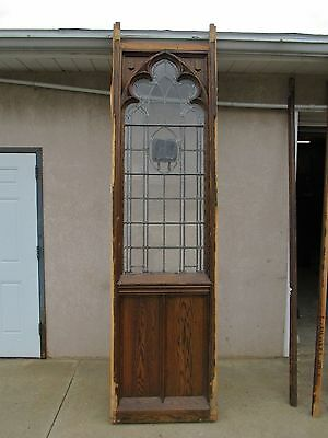 XL Antique Victorian Gothic Tiger Oak  Church Lead Glass Window Door Partition D