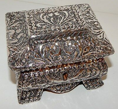 Beautiful Antique Silver Coated Wooden Box (Satin Lined)