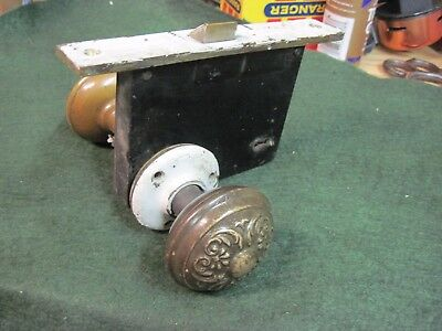 BRASS door knobs SET FANCY LOCK PLATE ROSETTS 1800'S VICTORIAN vintage EASTLAKE