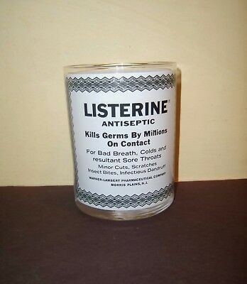 LISTERINE Glass old fashioned advertising label antique vintage bar bathroom