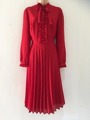 Vintage 70's Red Ruffle Trim Neck Tie Long Sleeve Pleated Secretary Dress 14