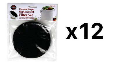 Norpro Round COMPOST REPLACEMENT FILTER 2 Pc Odor Free for 6 Months (12-Pack)