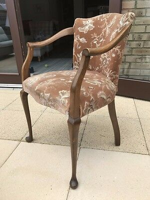 Antique Wooden Chair - Very Old Shabby Chic - Padded Seat & Back