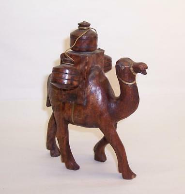Antique Hand Carved WOODEN CAMEL/Dromedary FIGURE With Jugs - Ethiopia