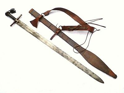 "BIG ANTIQUE KASKARA SUDANESE ""CRUSADER"" SWORD ARAB Takoba JAMBIYA spear shield"