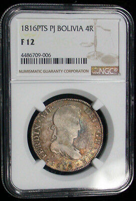 1816PTS PJ Bolivia NGC F12 Original Colorful Toned 4 Reales