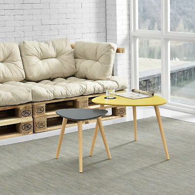 [en.casa] Coffee Table Set of Two Mustard / Grey Side Living Room