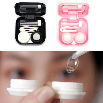 Mini Contact Lens Storage Case Box with Solution Bottle Travel Kit Container